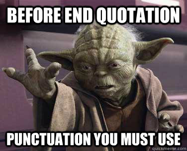 Yoda gives punctuation advice