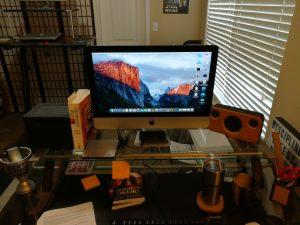 My slightly messy writing desk.